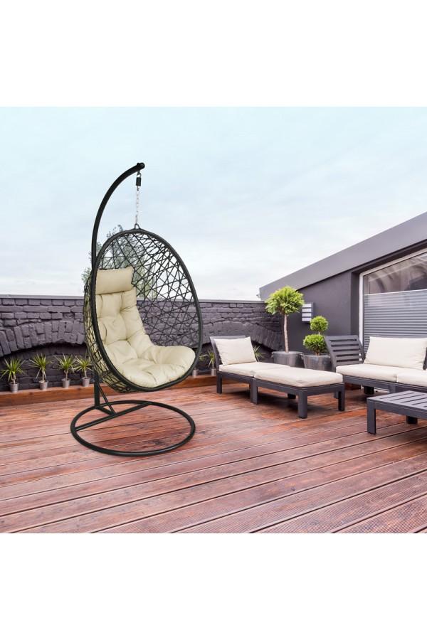 fotel wiszący do domu - kremowy bujak