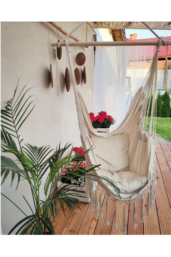 fotel wiszący do domu - fotel ze stelażem