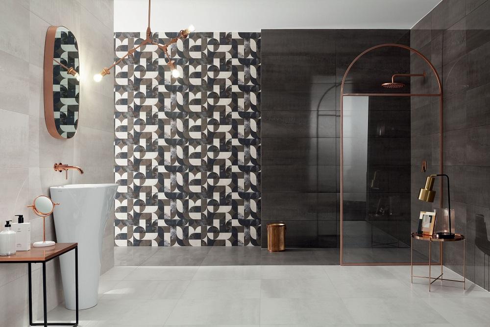 Wystrój nowoczesnej łazienki w ciemnych kolorach z wzorami art déco